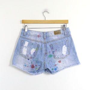 Melinda painted denim shorts unique jean art wear